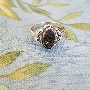 Black Druzy Ring Sterling Silver NEW